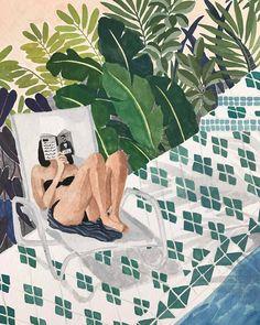 """bibliolectors: """"Qué placer en verano… leer al borde del agua! Refrescándose con la lectura (ilustración de Ohkii Studio) """""""