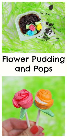 Flower Pudding and Pops. These bright spring desserts are easy,no bake and perfect for spring parties!