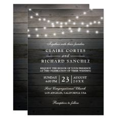 Rustic Wood and String Lights Wedding Invitation - summer wedding diy marriage customize personalize couple idea individuel Summer Wedding Invitations, Wedding Invitation Design, Twinkle Lights Wedding, Wedding Planning Guide, String Lights, Rustic Wood, Wedding Gifts, Wedding Ideas, Marriage