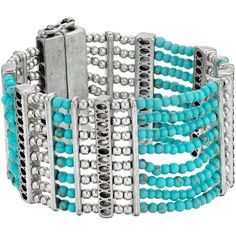 Lucky Brand Turquoise Lucky Layer Bracelet (Silver) Bracelet ($25) ❤ liked on Polyvore featuring jewelry, bracelets, silver, layered jewelry, turquoise bangle, silver jewellery, green turquoise jewelry and magnetic jewelry