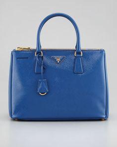 Prada  Saffiano Executive Small Tote Bag, Azzurro