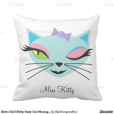 Retro Girl Kitty Sexy Cat Monogram Pillow