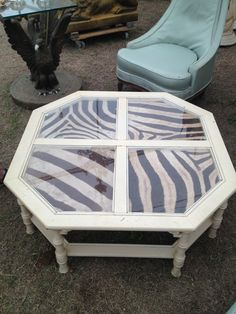 Glass Panel Coffee Table Painted Updated With Zebra Hide, Great Idea To  Modernize All Kinds