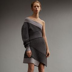 One-shoulder Cable Knit Wool Blend Dress | Burberry