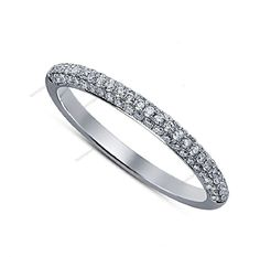 0.52 CT.14K White Gold Plated 925 Silver Round D/VVS1 Diamond Women's Band Ring…