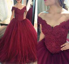 Elegant Dark Red Prom Dress,Quinceanera Dresses, Off Shoulder