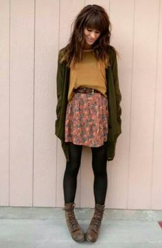 loose tee, short flowy printed skirt, cardigan, tights, boots