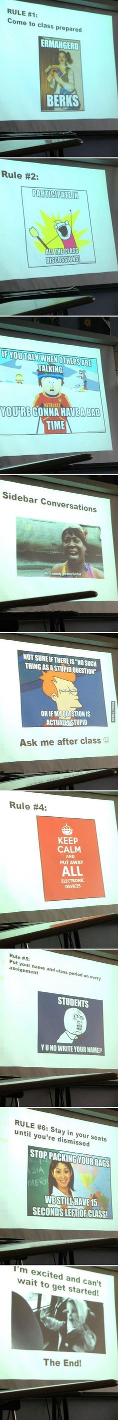 Using memes to introduce class rules...awesome!