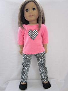 Valentine's Day inspired glitzy tee top and pant by HannahsDressUp American Girl Outfits, My American Girl Doll, American Doll Clothes, Ag Doll Clothes, Doll Clothes Patterns, Clothing Patterns, Doll Patterns, America Girl, Our Generation Dolls
