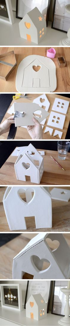 Amazing DIY Votive Candle Holder Ideas DIY House Candle Holder With Air Dry Clay. Make this cute house candle holder with air dry clay! Perfect decor for your holiday party. Bringing a beautiful glow to any environment. Diy Clay, Clay Crafts, Diy And Crafts, Crafts For Kids, Kids Diy, Decor Crafts, Simple Crafts, Simple Diy, Felt Crafts