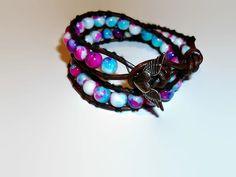 Perlas de vidrio cuero doble abrigo multicolor Pulsera por missy69