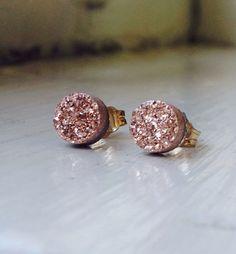 Petite Rose Gold Druzy stud earrings 14K Gold Filled by emijewels