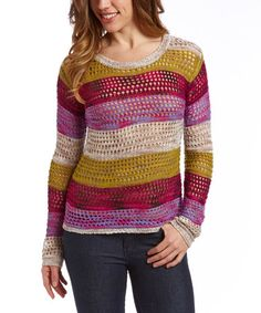 Another great find on #zulily! Pink & Green Stripe Crochet Sweater by Sisters #zulilyfinds