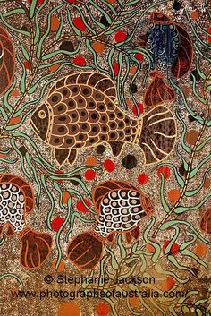 Australian aboriginal painting - public artwork featuring fish beside river at Dubbo NSW Aboriginal Patterns, Aboriginal Painting, Aboriginal Culture, Aboriginal Artists, Dot Painting, Ethno Design, Posca Art, Australian Art, Indigenous Art