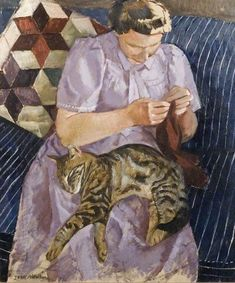 Lady with Cat by John Aldridge (1905-83)