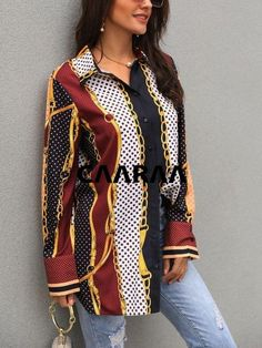CAMISA ESTAMPADA CADENA MIXTA_CAARAA Versace Shirts, Womens Fashion Online, Printed Shirts, Amazing Women, Evening Dresses, Kimono Top, Ladies Tops, Street Style, Print Button