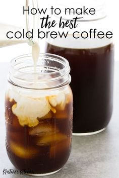 How to make cold brew coffee at home. This easy cold brew coffee recipe makes the perfect glass of iced coffee! Tips for making the best cold brew. Best Cold Brew Coffee, Cold Brew Coffee Concentrate, Making Cold Brew Coffee, How To Make Ice Coffee, How To Brew Coffee, Homemade Cold Brew Coffee, Recipe For Cold Coffee, Cold Brew Coffee Recipe Mason Jar, Cold Brew Coffee Recipe Pioneer Woman