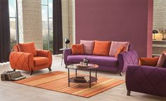 Modern Sofa in Luxury Living Room Orange Rooms, Living Room Orange, Living Room Sets, Living Room Furniture, Living Room Decor, Luxury Sofa, Luxury Living, Salons Violet, Tapis Design