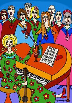 Choir- naive art www. Naive Art, Choir, Art Ideas, My Arts, Comic Books, Inspirational, Comics, Crafts, Design