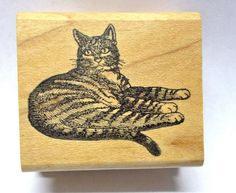 Serious Striped Kitty cat rubber stamp sitting long tail wood mounted Pets Cats #StampMagic #CatsDomesticpets