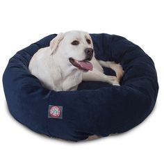 """Majestic Pet Products 40"""" Navy Villa Collection Micro-Velvet Bagel Bed By Majestic Pet Products"""