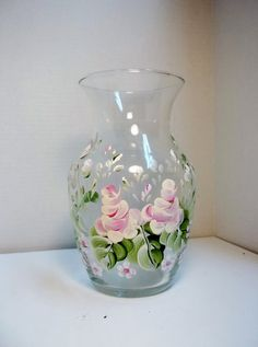 A Vintage Glass Vase Hand Painted Original by FolkArtByNancy