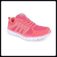 size 40 fb5b6 3e25e Ladies Casual Flat Lace Up Sports Gym Jogging Running Womens Trainers Shoes  Size, Coral UK 6