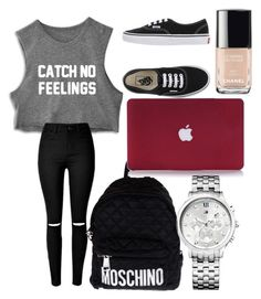 ... by elodie-vallet on Polyvore featuring polyvore beauty Chanel Tommy Hilfiger Moschino Vans
