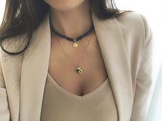 naszyjnik choker z granatowych pereł Matilde Choker, Jewellery, Chain, Fashion, Neck Choker, Moda, Jewels, Fashion Styles, Schmuck