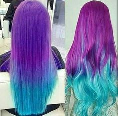 Beautiful purple and blue ombre hair