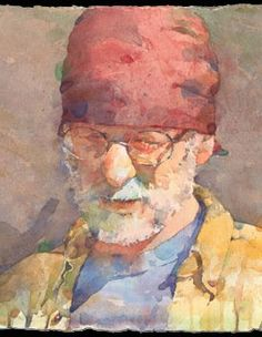 American Watercolor Artist Ted Nuttall - Winter Sun, Red Bandana (Detail)