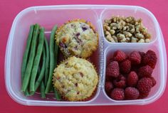 Raspberry Muffin school lunch idea   packed in #EasyLunchboxes containers