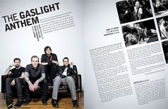Gaslight Anthem Magazine Layout   i like the angle in which the text is displayed.