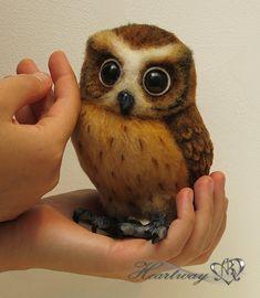Taffy. Needle felt owl. OOAK. Commission work. SOLD. To order.