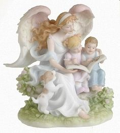 Porcline Most Beautiful Angels Cherubs | An angel reads to two young children in this guardian angel sculpture ...