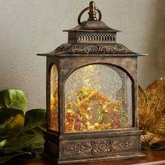 Rustic Inspired Lighted Nativity Lantern