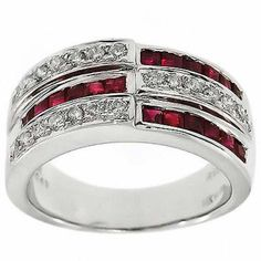 1.50 Cttw Round Cut Diamonds and Ruby Ring in 14K White Gold by…