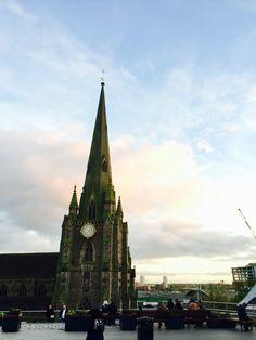 Brum. St. Martin cathedral. Bull Ring. Sunset.