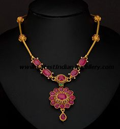 Ruby Necklace / Genuine Ruby Necklace in Gold / Unique Ruby and Diamond Pendant / July Birthstone / Push Present / Natural Ruby Jewelry - Fine Jewelry Ideas Light Weight Gold Jewellery, Gold Jewelry Simple, Simple Necklace, Gold Necklace, Pearl Necklaces, Necklace Set, Jewelry Necklaces, Ruby Necklace Designs, Ruby Jewelry