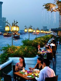 The terrace at Mandarin Oriental, Bangkok, We used to drink Irish coffees and watch the river traffic