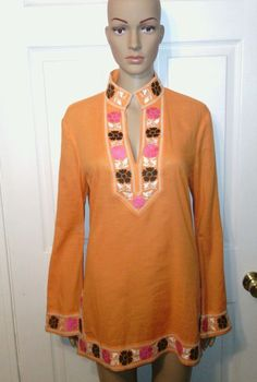 Ethnic gypsy top SZ 8 orange floral tunic long sleeve embroidered boho hippie  #Tory #Tunic #Casual