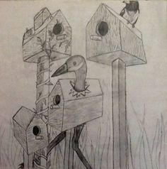 Two point perspective birdhouses. 8th grade