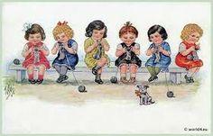 Knitting girls.
