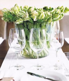 Simples. All new green/white tulips with clear accents. Clean and green, and soooo romantic with soft lighting....