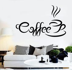 Vinyl Decal Coffee Quote Coffee Time Wall Sticker Kitchen Cafe Shop Restaurant Decoration (ig2427)