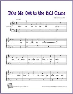 Take Me Out to the Ball Game | Free Sheet Music for Easy Piano (Scheduled via TrafficWonker.com)