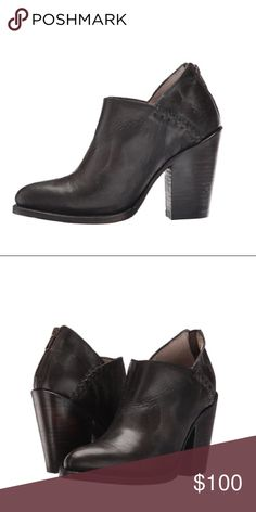 """Freebird by Steven Boots Booties in Size 8 Freebird by Steven """"Steel"""" Boots Booties in Black Brown Size 8   Brand new boots without the box. Per freebird website the are """"black"""" but to me they look like a dark brown.  v-cut opening, medium stacked heel, steel cowboy bootie is a perfect transitional shoe to pair with denim or dress  Upper made of antiqued leather featuring topstitching detail. Back-zip closure. Almond toe on a low ankle bootie silhouette. Leather lining and footbed. Stacked…"""