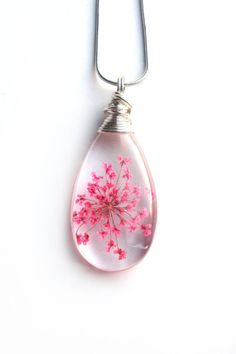 Pink Queen Anne Lace Necklace  Real Flower Encased by ScrappinCop----------------implode!