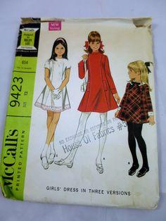Girls Panel Dress Pattern Sz 12 1968 Childs Bias Flared Dress