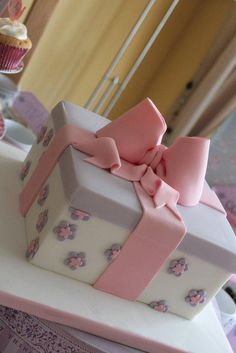 Gift box cake and tea party dessert table  - Cake by Tillymakes